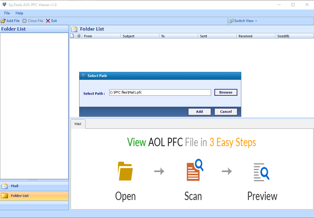Browse AOL PFC file