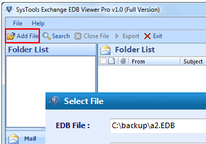 Step second– Adding of a EDB file