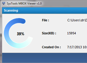 Free MBOX Viewer scanning the file