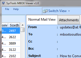 One click to preview MBOX files for free